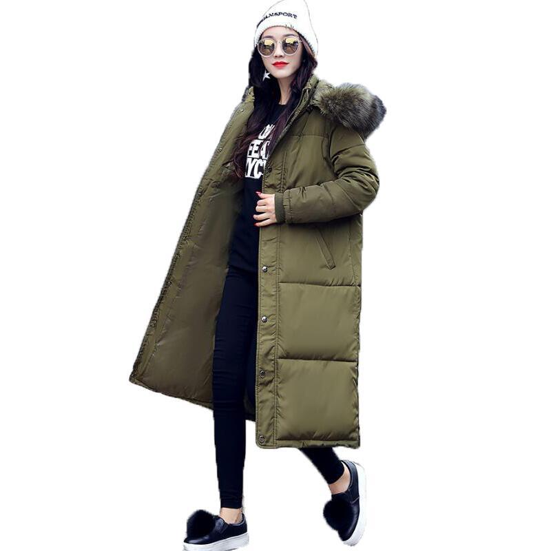 цена на 2017 Winter Long Coat Women Large Fur Collar Cotton Jacket Parkas Casual Thickened Warm Jacket Plus Size Slim Outwear Casacos
