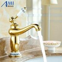 8 Golden Plated Faucets Bathroom Sink Basin Brass Faucet Porcelain Mixer Tap 9031GP
