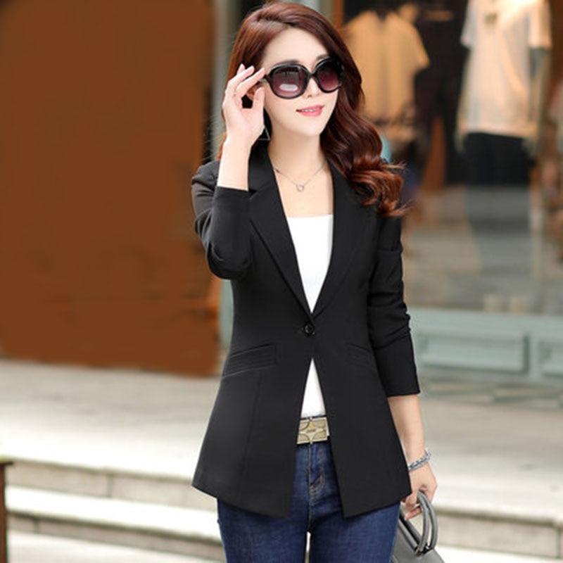 Ladies blazer 2019 spring new ladies casual Slim long sleeves long paragraph small suit jacket OL temperament suit jacket
