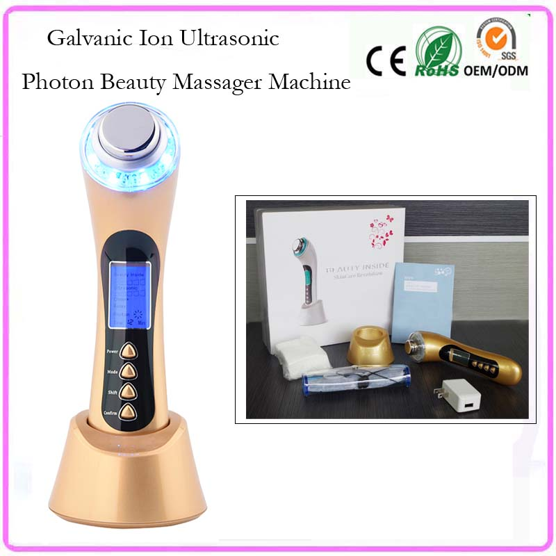 Galvanic Photon Ultrasonic Ion Facial Spa Pores Cleaning Wrinkle Remover Face Lift Skin Tightening Firming Beauty Salon Home Use home travel use iontophoresis ems stimulator anti aging anti wrinkle face eye lift skin tightening firming beauty instrument