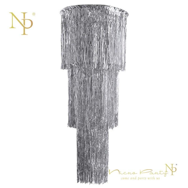 Nicro nuevo 46 pulgadas brillante plata 3 capa de tejido cortina decoración de fiesta de papel de brillo de la foto de la boda Fondo # Tas13