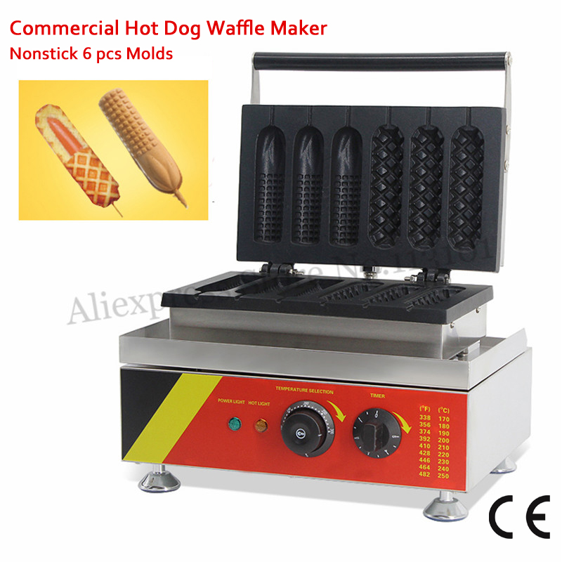 110V 220V Nonstick Lolly Waffle Machine 3 Hotdog Waffle + 3 French Corn Hot Dog Molds 1500W Commercial Use
