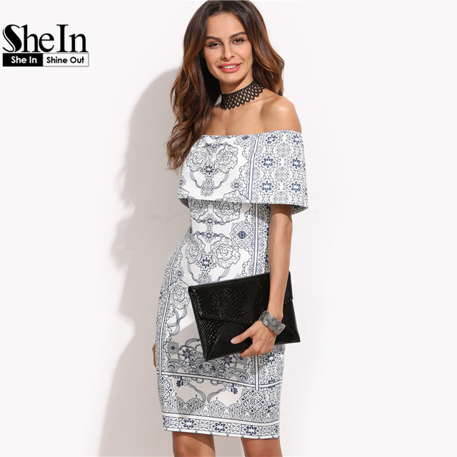 SheIn 2016 Dresses Women Autumn Party Dress White Vintage Print Foldover Off The Shoulder Ruffle Sexy Short Bodycon Dress