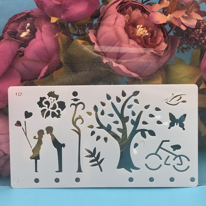 A6 Lover Couple Tree DIY Craft Layering Stencils Wall Painting Scrapbooking Stamping Embossing Album Paper Card Template