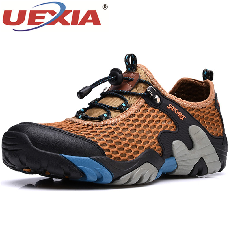 UEXIA Summer Men Gladiator Hollow Leather Sandals Breathable Anti-collision toe Sandals Shoes Fashion Male Footwear Size 38-44