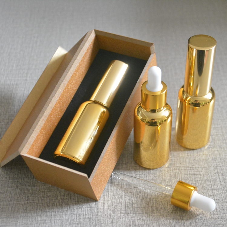 4pcs 30ml High temperature gold plated dropper bottle With wooden box,empty glass essential oil bottle, perfume subpackage jar illusion money box dream box money from empty box wonder box magic tricks props comedy mentalism gimmick