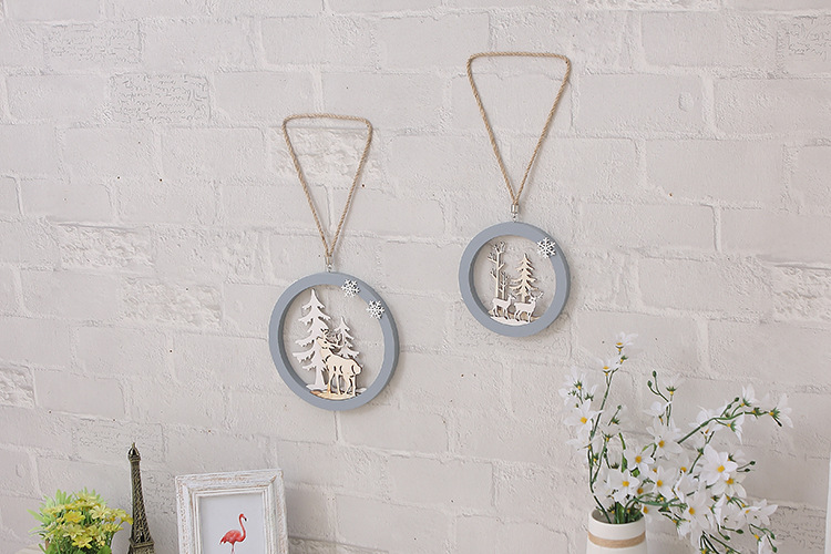 1PC Nordic Europe Wall Decoration Round Wooden Hanging Pendant Hemp Rope Deer Buck Stag Doe Window Hanging Decoration JL 224 dřevěné dekorace do dětského pokoje