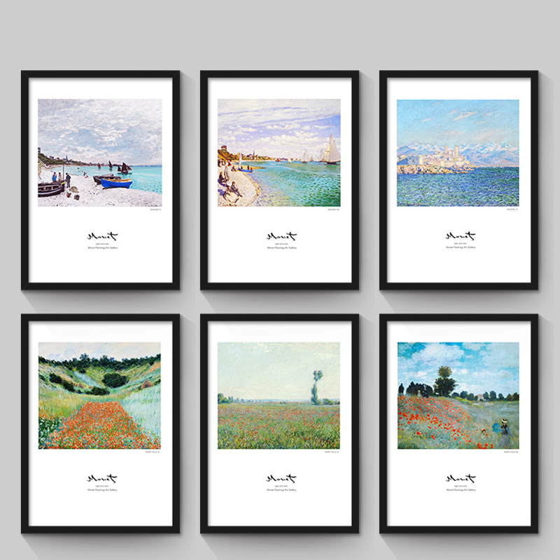 Nordic Modern Minimalist Living Room Decorative Painting No Frame Beach Abstract Paintings Claude Monet Painted Wall Art Picture
