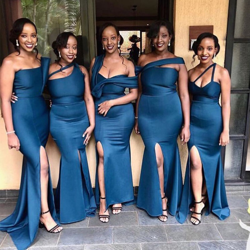Lamiabridal Navy Blue Sexy Mermaid Bridesmaid Dresses Strapless Satin Front Slit Long Maid Of Honor Wedding Party Dresses Cheap