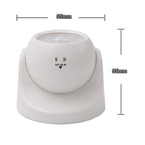 Image 3 - 9 LEDs 360 stopni obrót lampa z czujnikiem ruchu czujnik lampka nocna na baterie obsługiwane na ścianę w korytarzu lampka nocna do szaf garażowych przedpokój