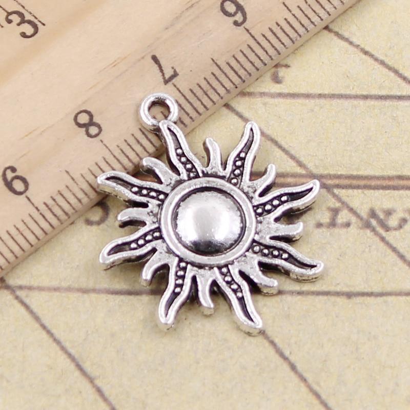 10pcs Charms Sun Sunburst 28x25mm Tibetan Gold Bronze Silver Color Pendants Antique Jewelry Making DIY Handmade Craft