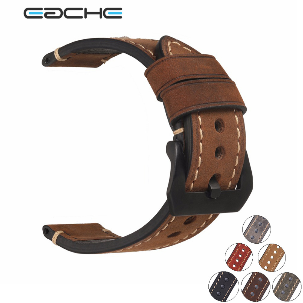 EACHE 20mm 22mm 24mm 26mm Genuine Leather Watch Band Crazy Horse Leather Strap for P Watch Hand Made With Black Buckles tjp 1pcs 18mm 20mm 22mm 24mm 26mm green khaki black brown genuine crazy horse leather bracelet nato watch strap bands
