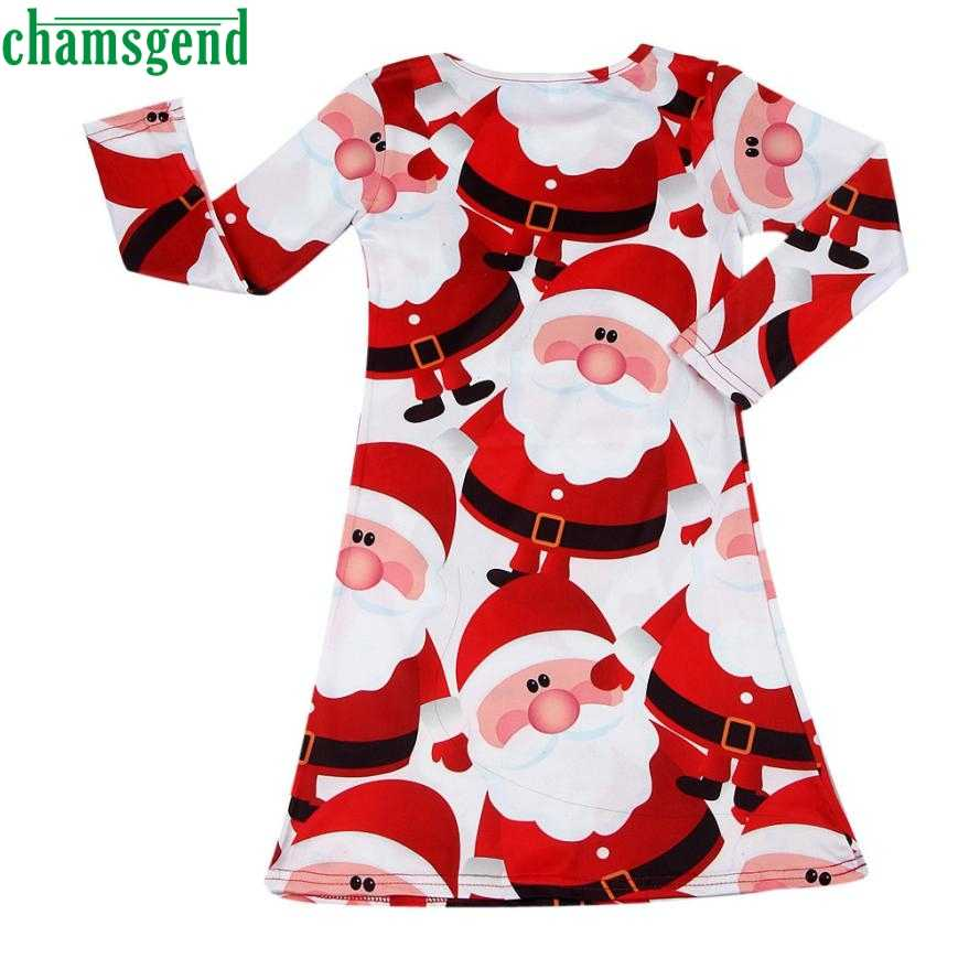 2018 summer new children baby red Santa Claus fashionable long sleeves shirt swing party dress 2018 Apr 24