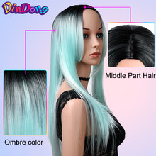 DinDong Mint Green Synthetic Wigs For Women Straight Long Heat Resistant Hair 24 Inch Cosplay Wig 3 Colors(China)