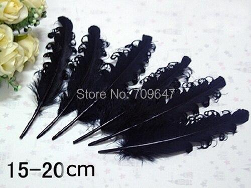 100 шт./лот! 15-20 см длинные черные загнутыми гусиных перьев, свободные перья для перо повязка, аксессуар для волос и т. д., бесплатная доставка