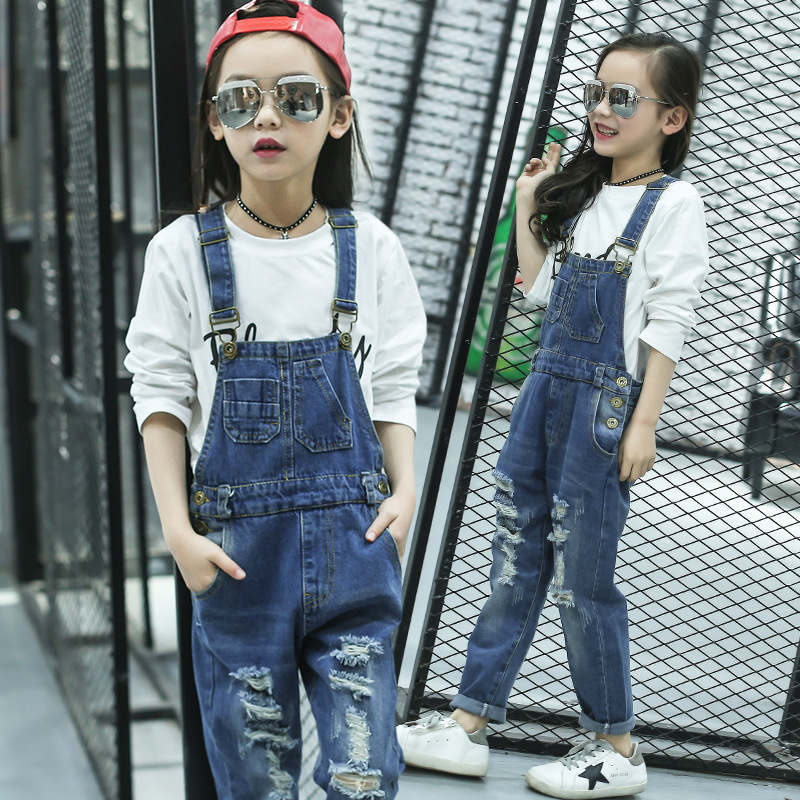 Girls Jeans Overalls For Girl Denim Spring Pocket Jumpsuit Pants For Kids 4-15 Years Jeans Baby Girls Overall Teenager boyfriend jeans men s ripped jeans casual front pocket blue denim overalls male suspenders bib jeans jumpsuit or05