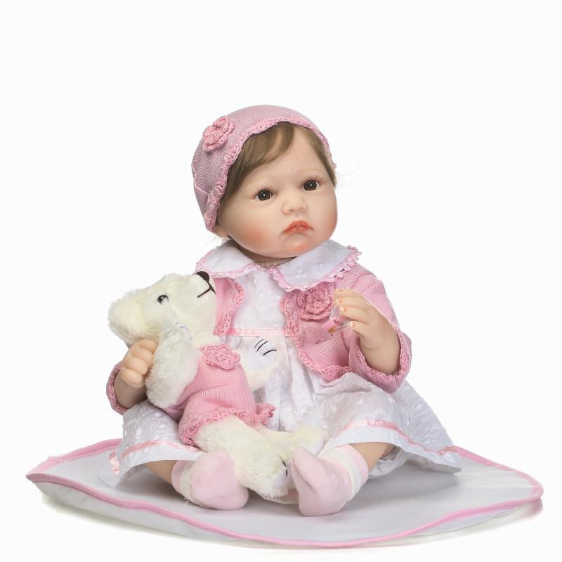 Nicery 20-22inch 50-55cm Bebe Reborn Doll Soft Silicone Boy Girl Toy Reborn Baby Doll Gift for Children White Dress Pink Coat