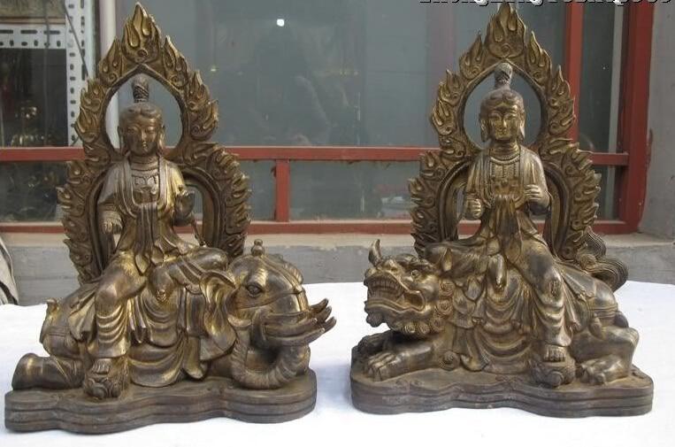 15Tibet Old Bronze gild Manjusri Samantabhadra Elephant Lion kwan yin Buddha Statue Statue15Tibet Old Bronze gild Manjusri Samantabhadra Elephant Lion kwan yin Buddha Statue Statue