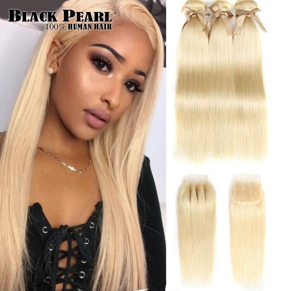 Noir Perle Brésilienne cheveux humains raides Bundles Avec Fermeture Miel Blonde Bundles Avec Fermeture 613 Bundles Avec Fermeture