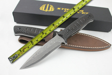 High Quality Damascus Steel Hunting Knives Ebony Handle Survival Fixed Blade Knife Outdoor Camping Straight Knife Leather Sheath