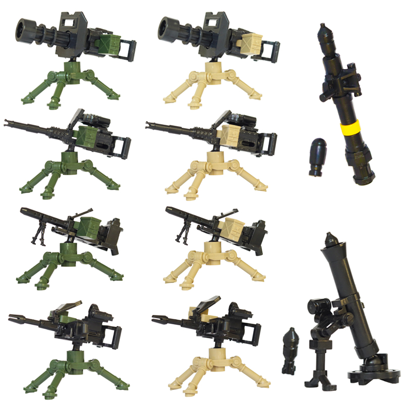 MOC LegoINGlys Military Machine Guns RPG City Police Swat Team WW2 Army Soldiers Figures Weapon Accessories Building Blocks Toys