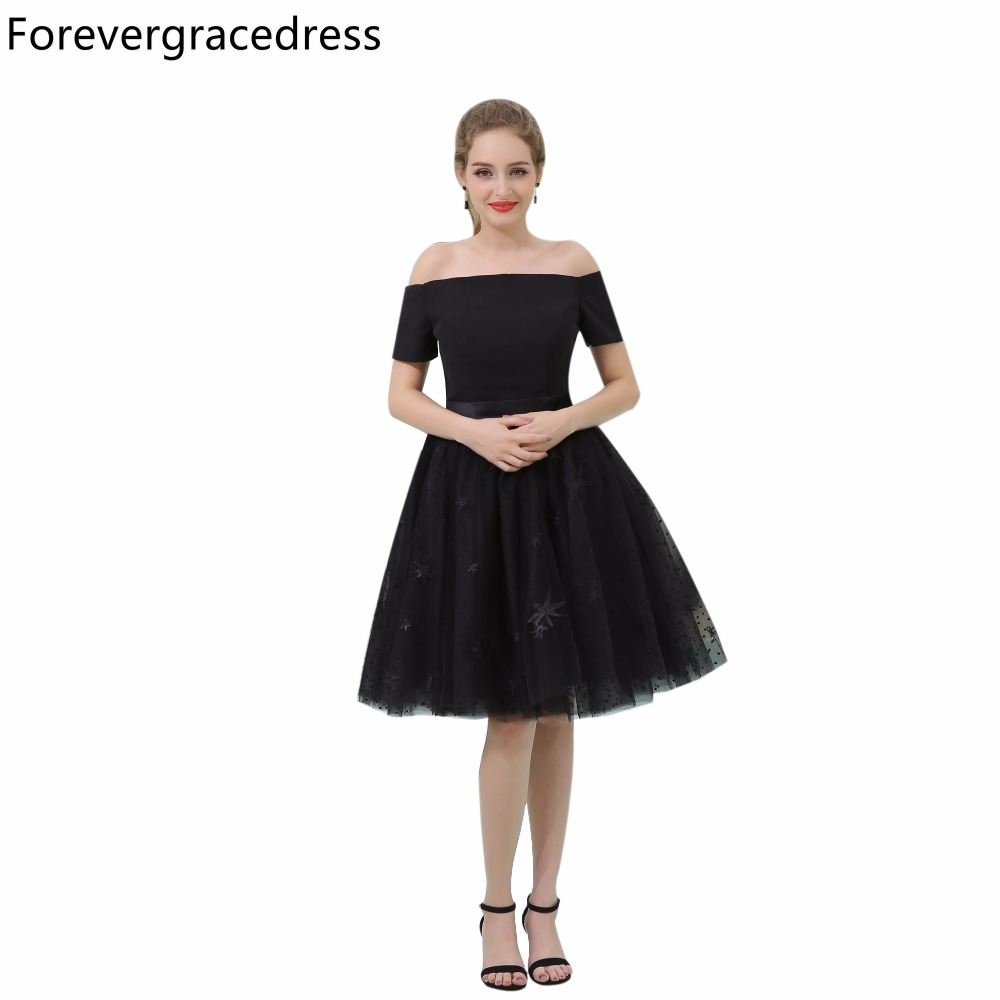 Forevergracedress Real Picture Black   Cocktail     Dress   Fashion Off The Shoulder Knee Length Short Homecoming Party Gown Plus Size