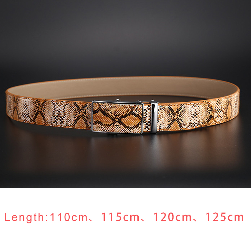 Men's Black Snakeskin Pattern Leather Belt High Quality Automatic Buckle Brown Leather Belt Business Casual Belt Be Customized