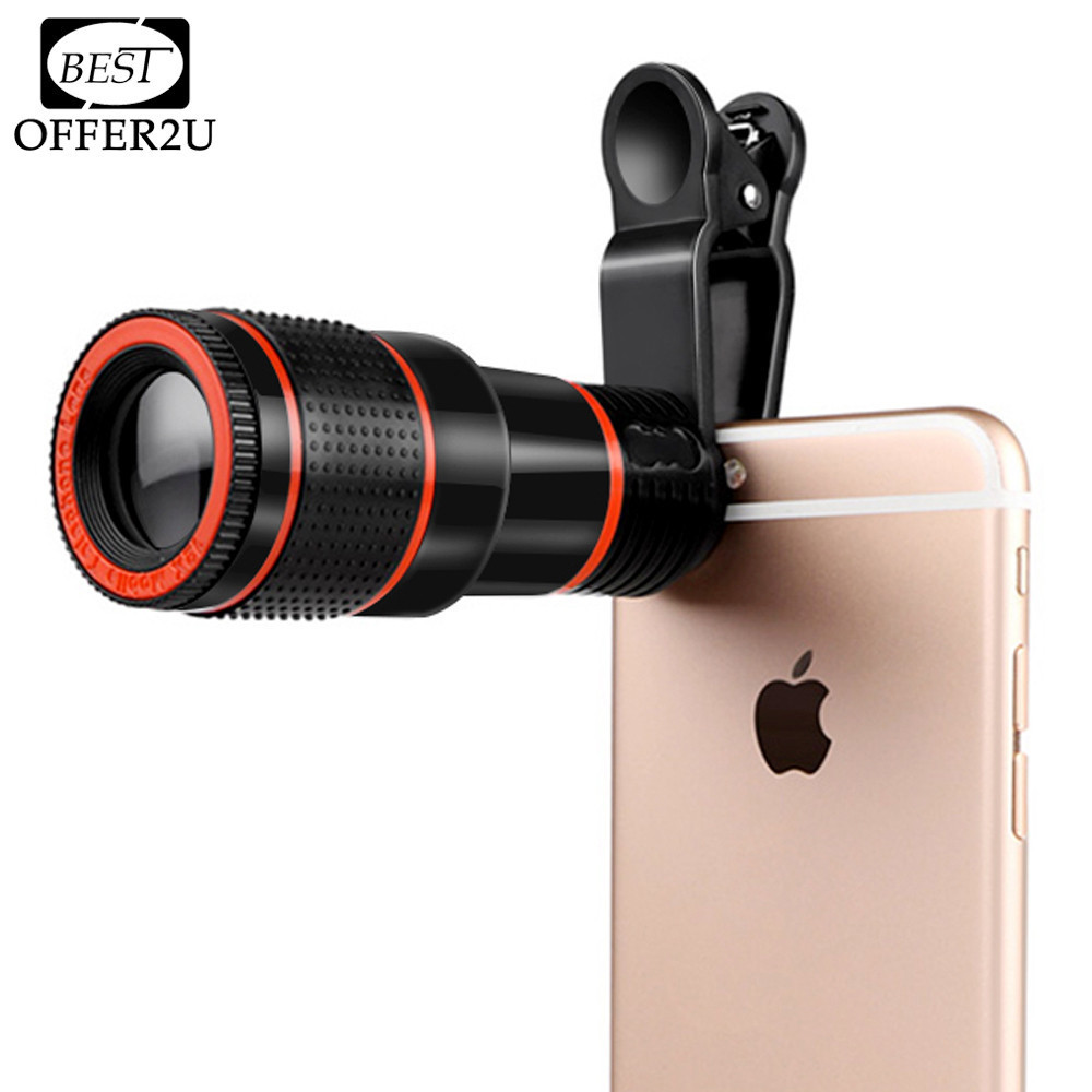 Lente telefoto teleobjetivo HD 12x zoom telescopio óptico Objetivos para cámaras con Clips para iPhone 4S 5S 6 S 7 Todo teléfono sin esquina oscura