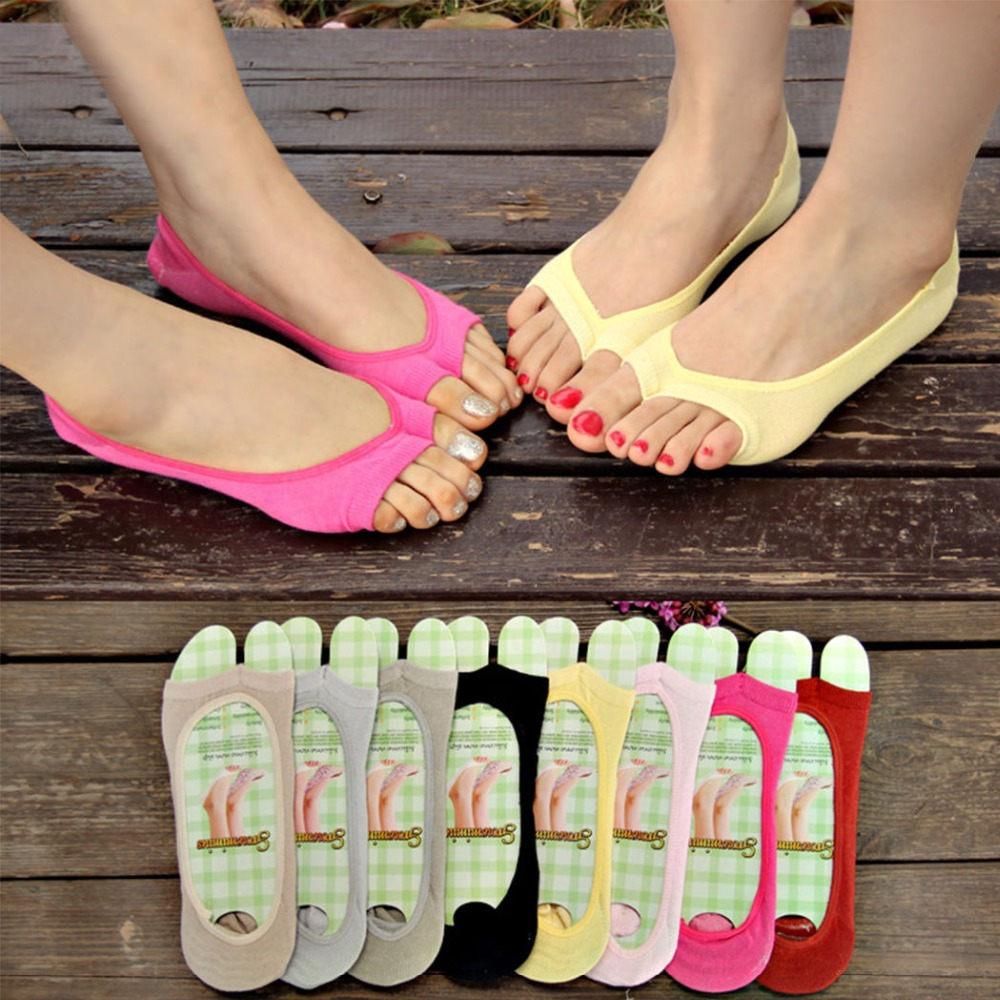 Womens sandals reviews - Fashion Women Invisible Socks Open Toe Silicone Non Slip Sandals Sock Solid Sock Slippers 3pair