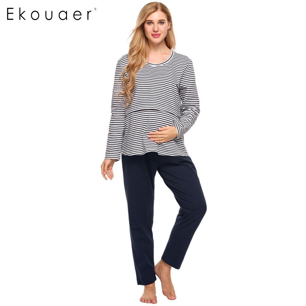 Ekouaer Women Sleepwear Set Breastfeeding Nursing Maternity Pajamas Set Long Sleeve Striped Lounge Pajamas Autumn Nightwear Suit