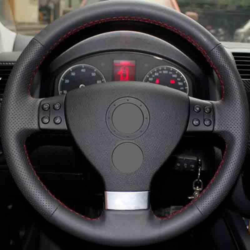 Car accessories Leather Car Steering Wheel Covers For Volkswagen Golf 5 Mk5 VW Passat B6 Jetta 5 Mk5 Tiguan 2007-2011 3pcs multifunction steering wheel cruise switch handle bar for vw rabbit tiguan touran jetta golf mk6 gti mk5 a3 1k0 953 513 g