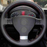 Car accessories Leather Car Steering Wheel Covers For Volkswagen Golf 5 Mk5 VW Passat B6 Jetta 5 Mk5 Tiguan 2007 2011