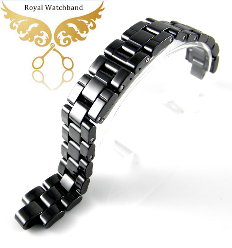 ФОТО 7.5mm Black High Quality Ceramic Watch Band Strap Bracelet Fit J12 Mens Watch
