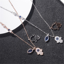 dropshipping luxury brand jewelry rose gold color evil eye and hand s925 silver necklaces for women
