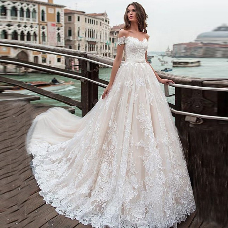 Vestidos De Novias Elegante Bohemian Wedding Dress Plus Size Off The Shoulder Appliques Beading Wedding Gowns Bridal Dresses