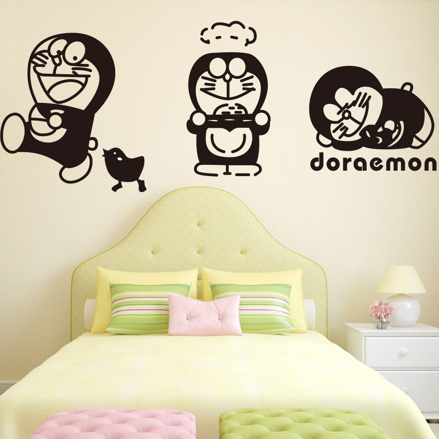 ᗕ4pcs/lot KIDS ROOM WALL\'S MATTER Home Decor Doraemon Cartoon Vinyl ...