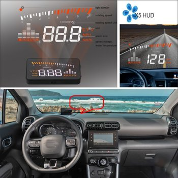 Car HUD Head Up Display For Citroen C3/C5/C6 2010-2020 HUD OBD Safe Driving Screen Projector Inforamtion Refkecting Windshield
