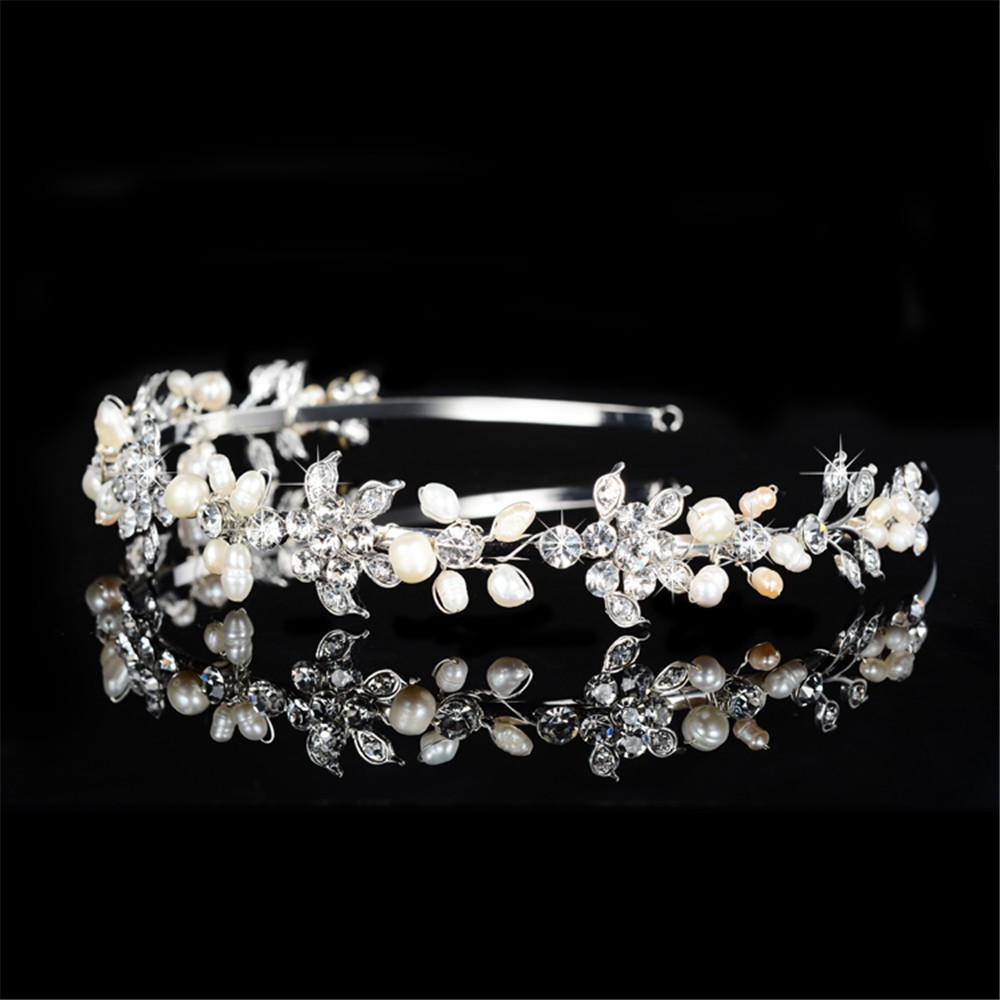 925 sterling silver cute pink flowers design tiara for women simulated pearl & Austrian crystal hair accessories wedding jewelry bridal crown HF042 (3)