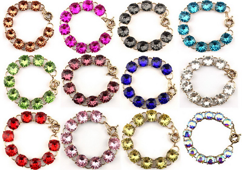 1 5cm Pop Color Faceted Round Crystal Dot Bracelet Gold Trendy Bridesmaid Jewelry font b Women