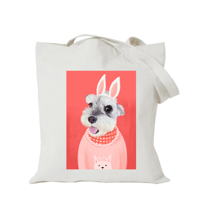 Origina kawaii canvas cartoon custom tote bag customize eco bags diy logo shopping bag with logo Dachshund Shepherd Dog Poodle (2)
