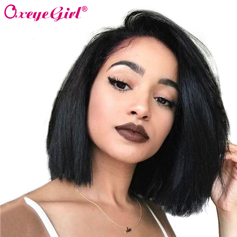 Kort Bob Wig Lace Front Human Hair Parykker Brazilian Striaight Paryk 13x6 Lace Front Paryk For Black Women 150 Density Remy Oxeye Girl