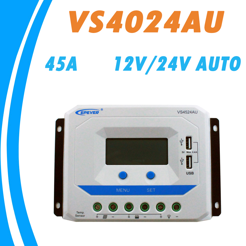 EPEVER 45A Solar Controller 12V 24V Auto VS4524AU PWM Charge Controller with Built in LCD Display and Double USB 5V Port