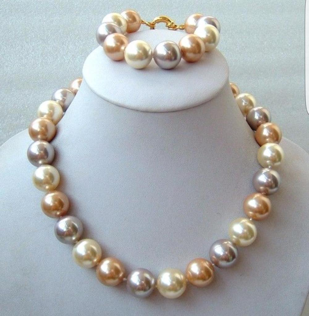 set of huge 14-16mm round south sea multicolor pearl necklace &bracelet