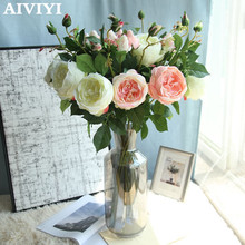1 Branch Rose Artificial Flowers wedding Bridal Bouquet Latex Real Touch Wedding Home Party DIY