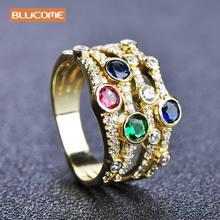 Женское кольцо с фианитами blucome разноцветное из меди и циркона