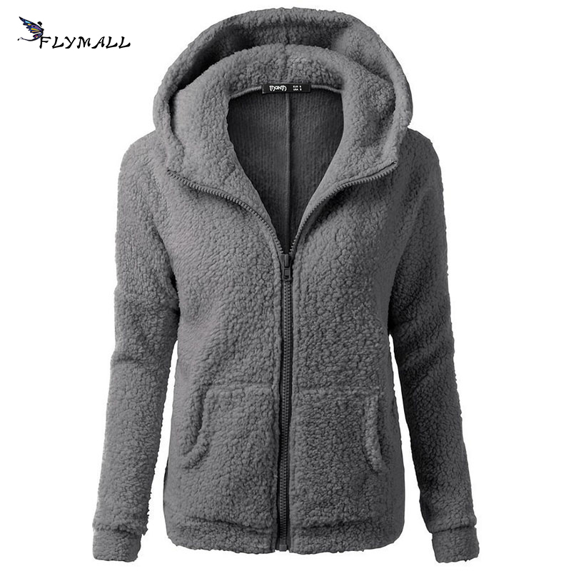 FLYMALL Autumn Winter Women Fleece Jackets Casual Ladies Hooded Sweaters 2017 Warm Soft Zipper Coats Sweatshirts with Pocket