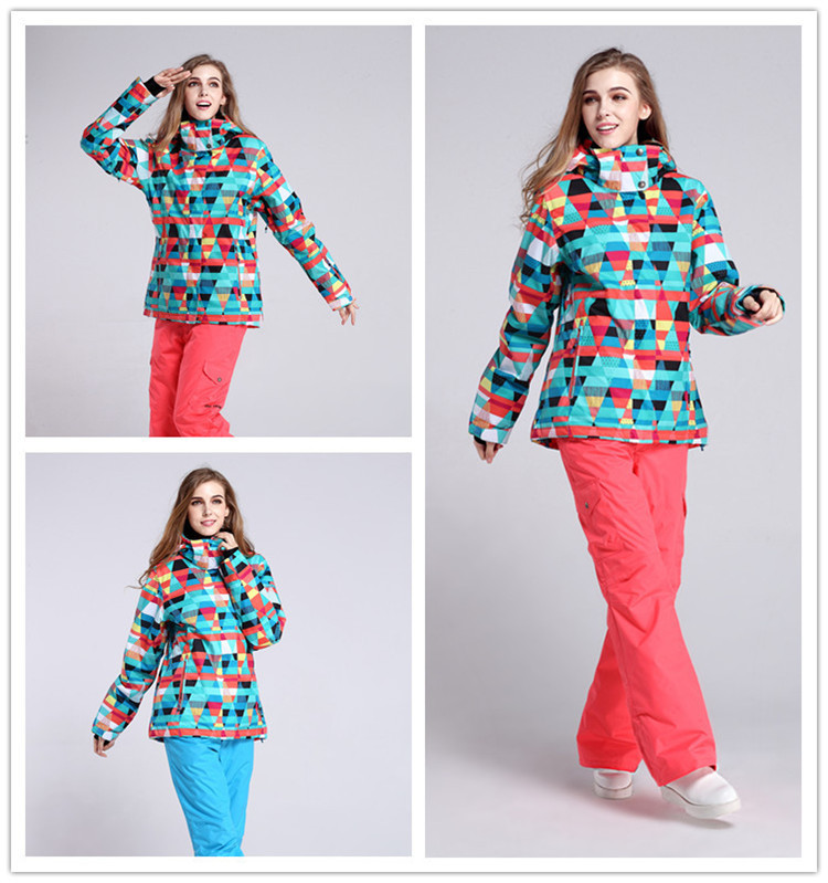 High quality Gsou snow 2016 women skiing suit sets snowboarding Jackets+pants waterproof thermal winter warm cotton dresses