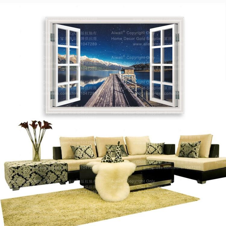 Fake window wall decal free shipping worldwide - Stickers deco salon ...