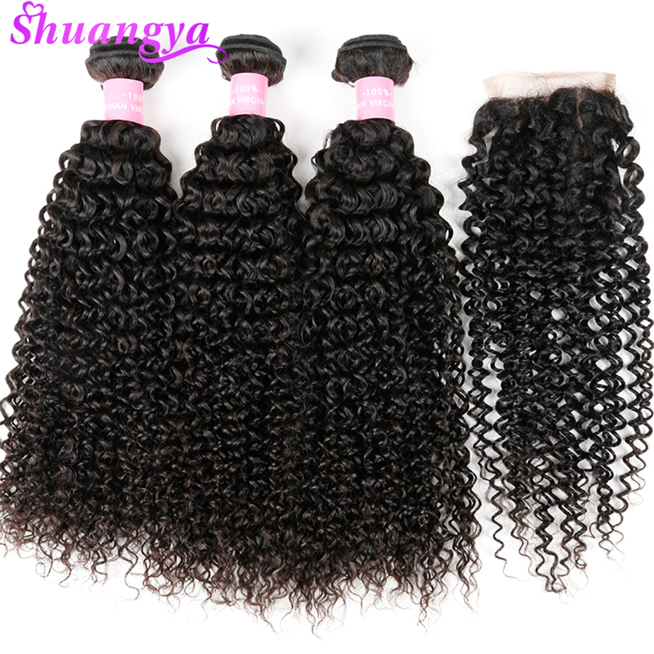 Монгольский странный вьющиеся волосы 100% человеческих волос Связки с закрытия свободной части 3 Связки с закрытием переплетения человеческ... ...