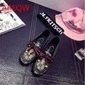 No outono de 2016 novos peas sapatos baixos rodada bowknot Coreano Sapatos maré preguiçosos sapatos mulheres grávidas b2